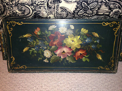 """Wooden Decorative Serving Tray w/ Handles Floral Design LARGE 25"""" X 12"""""""