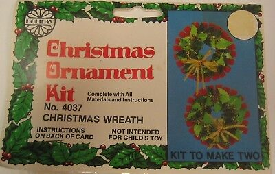 Vintage Holiday CHRISTMAS WREATH Beaded Sequin Ornament Kit ~ Makes 2