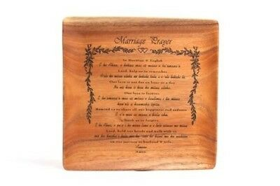 """Acacia Wood Plate Gift Engraved With The """"Marriage Prayer"""" In Hawaiian & English"""