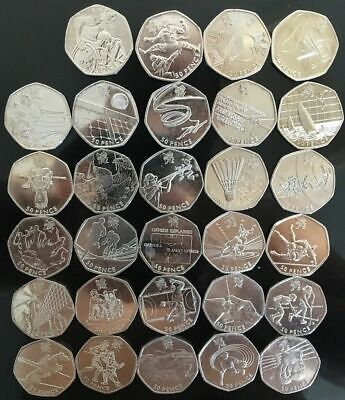 London 2012 All Olympic 50p Coins - Circulated & in GOOD Condition - FREE UK P&P