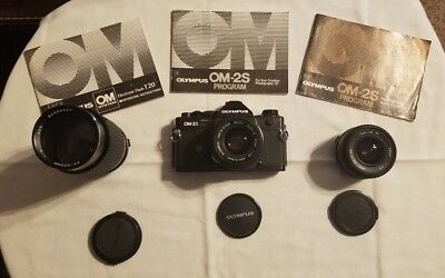 Olympus OM-2S With Multiple Lenses and Manuals! 50mm 1.8 / 24mm 2.8 / 80-200mm 4