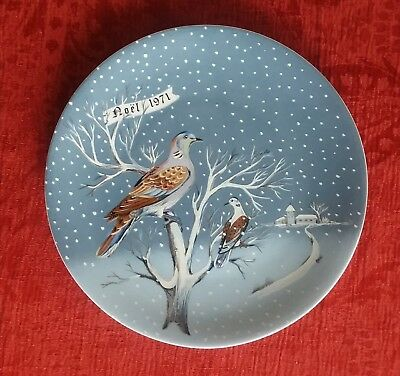"Haviland Limoges Plate 12 Days of Christmas ""Two Turtle Doves"" 1971 w/box"