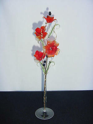 glass flowers TRANSLUCENT RED AND RED