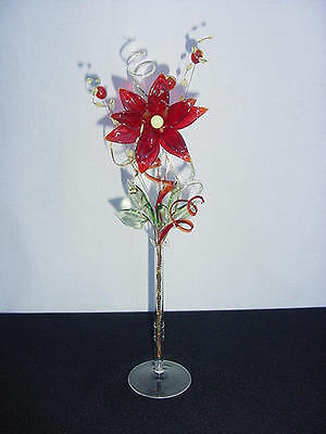 glass flowers translucent RED