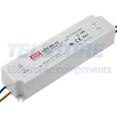 1pcs LPV-60-12 Alimentatore switching per diodi LED 60W 12VDC 5A 90÷264VAC MEAN