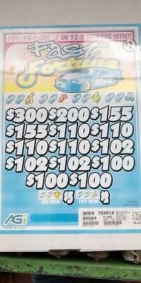 FAST FORTUNE - 3 Window Pull Tab tickets 2912 count @ $1, Payout $2310