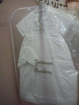 Feltman Brothers Girls Christening Gown White Batiste Lace NWT 6/9m Baptism