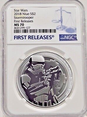 2018 Niue $2 Silver Stormtrooper 1oz NGC MS70 First Releases & Display Stand