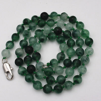"""New 6mm Natural Noble Two-color New Jade Gemstone Necklace 18""""A02"""