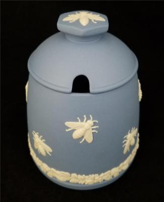 WEDGWOOD England BLUE JASPERWARE HONEY POT with BEES Promotional Item