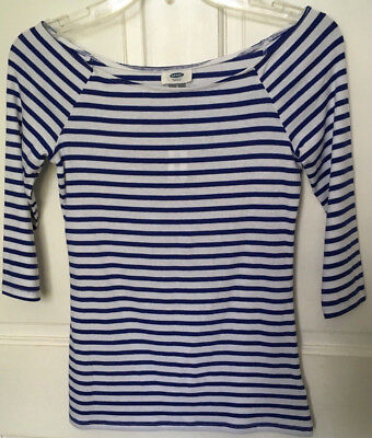 Old Navy Women's Small Shirt French Sailor Blue White Stripe 3/4 Sleeves New