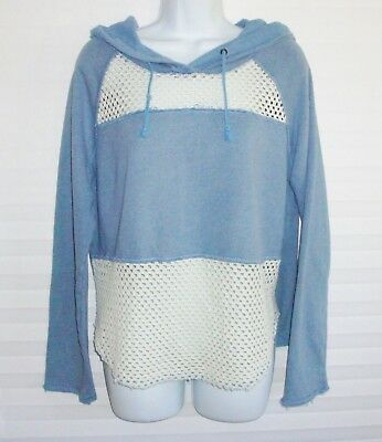 """Free People Small """"We The Free"""" Blue and Off-white Distressed Hoodie Top"""