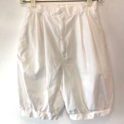 Vintage 1980s White Pleated Long Bubble Shorts size XS High Waist Banded Leg P13