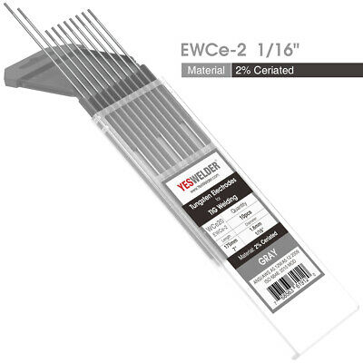 "TIG Welding Tungsten Electrode 2% Ceriated (Gray, WC20) 1/16""x7"" 10-pk"