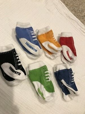 "Trumpette Baby Socks - 6 pairs ""sneakers with laces"". Size 0-6M NEVER WORN!!"