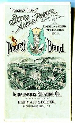 Indianapolis  Beer Brewing Co-1890 Trade Card~Progress Beer Wow ! Lady-Beer~Ale
