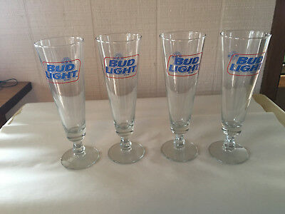 Four (4) Vintage Footed Stemmed Bud Light Beer Flutes Glasses