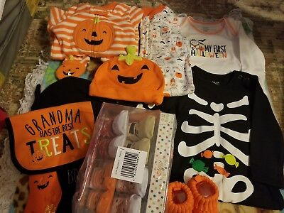 6 Month Baby Unisex Halloween Clothing Lot New Without Tags Pumpkin Skeleton Bat