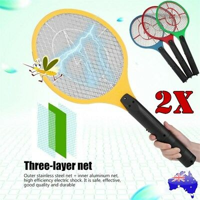 2x Bug Zapper Electric Tennis Racket Mosquito Fly Swatter Insect Killer Handheld
