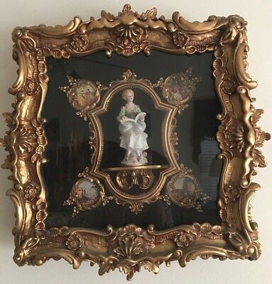 Frame Gild Rare Antique Vtg Mfg Romm French Diorama Baroque Ornate Handcrafted