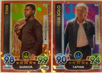 FORCE AWAKENS 2016 FORCE ATTAX EXTRA Limited Edition Cards HAN SLO + FINN LE ...