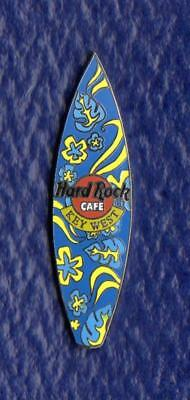 Hard Rock Cafe Key West Floral Design Surfboard Pin  2 3/16 x 9/16 inches