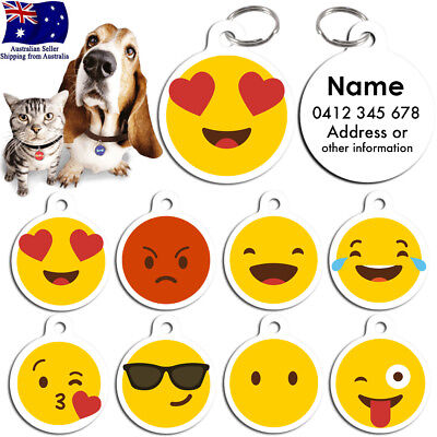 Metal Personalized Double Pet cat dog Tag Stripes Key ring Name Tags ID Emoji