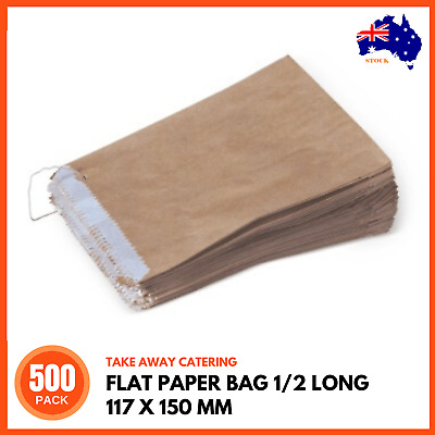 500 x BROWN GREASEPROOF LINED PAPER BAGS 1/2 Long 110x150mm | Flat Takeaway Bag