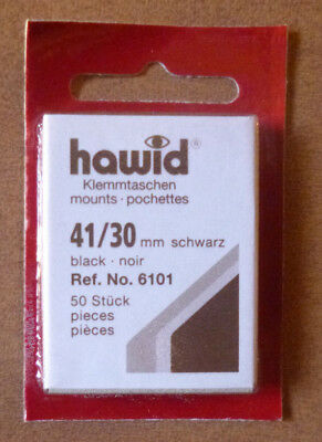 HAWID STAMP MOUNTS BLACK Pack of 50 Individual 41mm x 30mm - Ref. No. 6101
