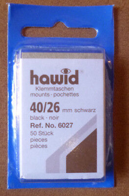 HAWID STAMP MOUNTS BLACK Pack of 50 Individual 40mm x 26mm - Ref. No. 6027