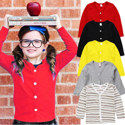 Toddler Kids Baby Boys Girls Knitted Tops Cardigan Coat Long Sleeve Sweater 1-6Y