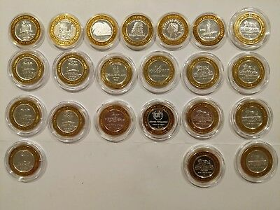 Lot Of 22 Reno & Las Vegas Silver Coins Casino Hotel Limited Ten Dollar Tokens