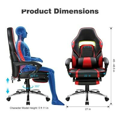 Executive Gaming Office Chair Racing Computer PU Leather Seat Work Race 3yrs WRT