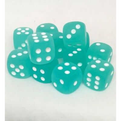 Set d6 16mm Frosted Teal w/white - Chessex CHX 27605