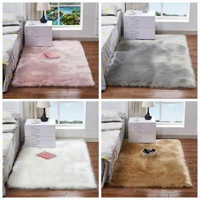 Fluffy Rugs Shaggy Area Carpet Floor Mat Faux Seat Pad Wool Sofa Home Bedroom-1