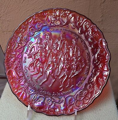 RED CARNIVAL GLASS 12TH DAY OF CHRISTMAS PLATE by IMPERIAL
