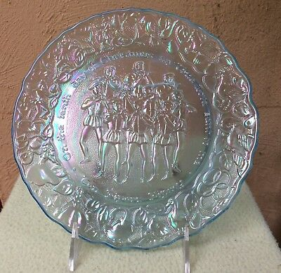 HORIZON BLUE CARNIVAL GLASS 10TH DAY OF CHRISTMAS PLATE by IMPERIAL