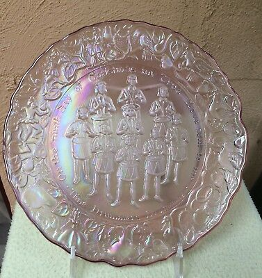 PINK CARNIVAL GLASS 9TH DAY OF CHRISTMAS PLATE by IMPERIAL