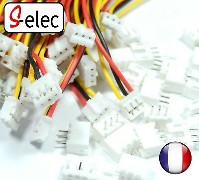 5052# Micro JST 2.0 PH 3-Pin Connector plug with Wires Cables 100MM x2 x5 x10