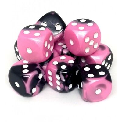 Set d6 16mm Gemini Black-Pink w/white - Chessex CHX 26630
