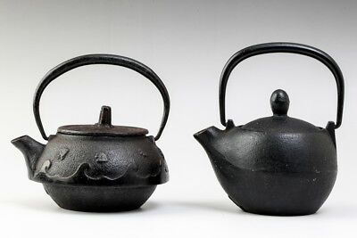 Japanese Small Tetsubin Iron Kettle Set of 2 CHIDORI and Wave Pattern #22140