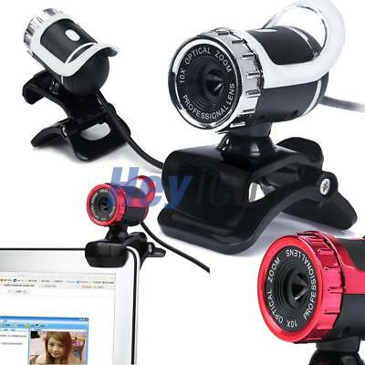Durable 360°USB2.0 HD WebCam Web Video Camera Clip-on MIC for PC Skype MSN Black