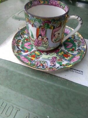 Antique chinese Canton cup and saucer small beautifully painted Famille Rose ?