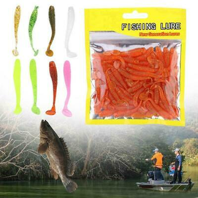 "50Pcs 2"" Fishing T Tail Soft Worm Fishing Lures Bait Fishing Tackle Accessory BT"