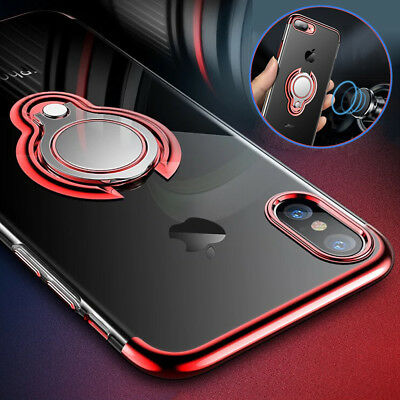 Luxury Thin Shockproof TPU Case for iPhone XS Max/XR/X 8 Metal Ring Holder Cover