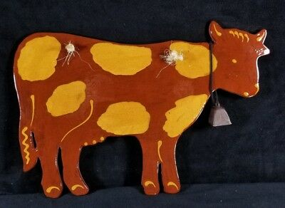 Hand Crafted Foltz Pottery Brown Cow Wall Plaque w Bell 13 7/8 Reinholds PA EXC