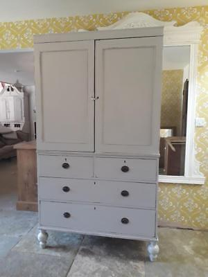 Victorian  painted  linen press Farrow & ball.
