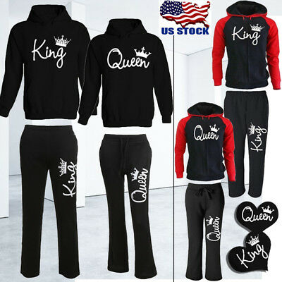 Latest King Queen Crown Hoodies Pants Trousers Valentine Love Couples Matching