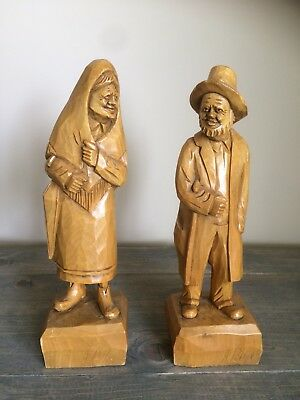 "Signed A Peltie Quebec artist wood Carvings Folk Art.  Each stand 13""."