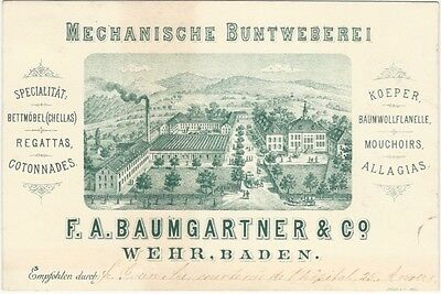 1880s German Trade Card for Weaving Manufactory Weavers Woven Textiles